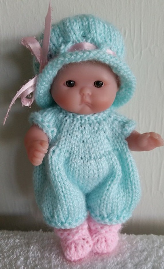 Berenguer Baby Doll Knitting Pattern Romper and Hat Set fits chubby 5 inch it...