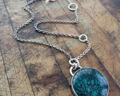 Turquoise and Silver Necklace - Cabochon Pendant
