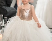 NEW! The Grace Dress in Champagne Sequins and Ivory - Flower Girl Dress