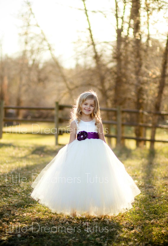 Ivory Flower Girl Dress With Plum Sash 40