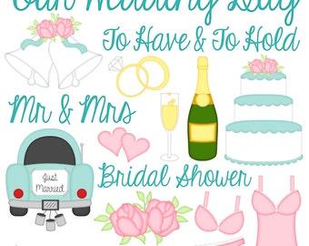 Wedding Bells Digital Clipart - Set of 16 - Cake Bells Rings Lingerie Words Hearts Champagne - Instant Download - Item #9092