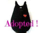 Reserved for LaGarcia - Black Cat Doll - Fluffy Cat - Stuffed Animal - Cat Lover Gift - Black Cat - Wool Cat - Stuffed Cat - Soft Cat Doll