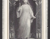 Antique St. Philomena French Lace Holy Card. Beautiful Old Prayer Card of Saint Philomena.