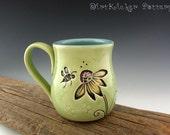 Pottery Mug in Lime Green with Daisy and Honeybee - Cofffee Mug - Large Mug - by DirtKicker Pottery
