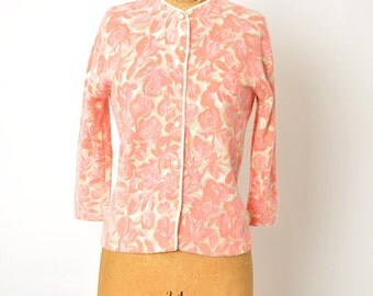 vintage 50s sweater / pink angora cardigan / floral cardigan / 1950s cardigan