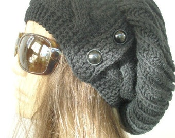 Black Slouchy  Hat  with Button  Knit Hat  Womens hat Handmade   Winter hat  Slouchy Beanie gift for her   Winter Accessories knit beanie
