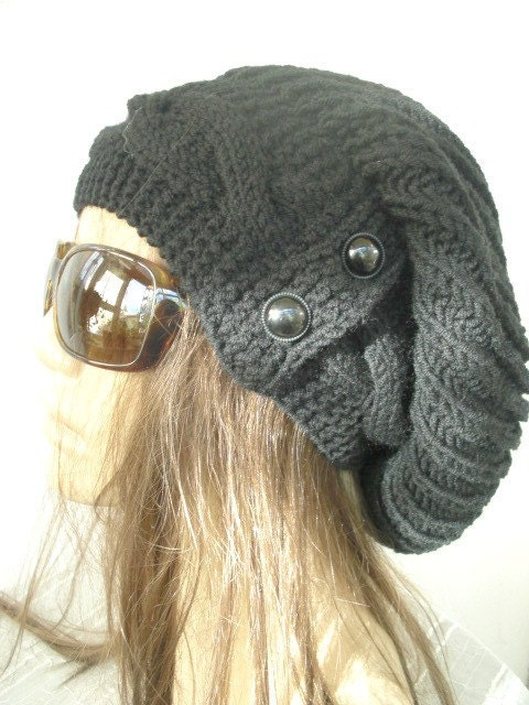 Knitting Pattern Hat With Button : Black Slouchy Hat with Button Knit Hat Womens hat Handmade