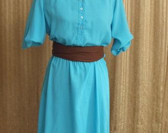 Oh Donna - Teal 1970s Shirtwaist Dress - Retro Secretary