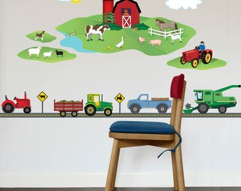 Farm Scene plus Four Farm Vehicle Wall Decals & Straight Road, Peel and Stick Removable and Reusable Eco-friendly Fabric Wall Stickers