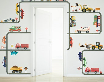 Car, Truck, Ems Vehicle and Construction Wall Decals, Gray Straight & Curved Road Wall Decals Peel and Stick