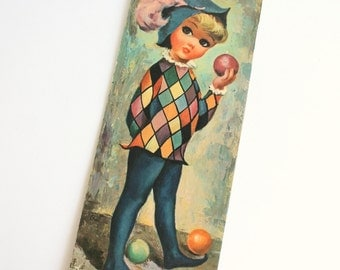 Vintage Goji Big Eye Art Print Harlequin Boy Kid's Room Decor Wall Decor