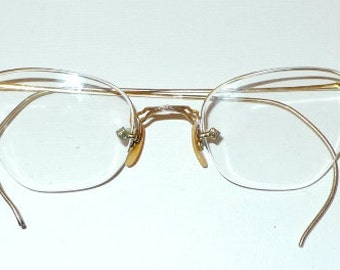 Yellow Gold Art Deco Cat Eye Glasses Semi Rimless Eyeglasses Vintage Antique Browline CatEyes Spectacles. Steampunk. ANtique. USA