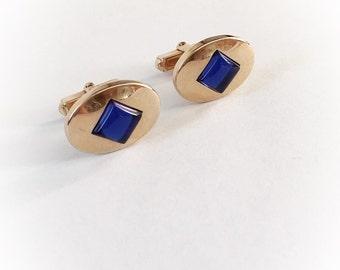 Vintage Anson Gold Metal and Blue Diamond Rhinestone  Cuff Links