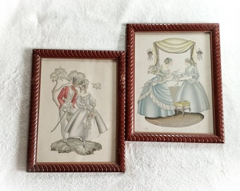 Vintage 1940s Colonial Couple Art Framed Prints Milton A. Bleier & CO