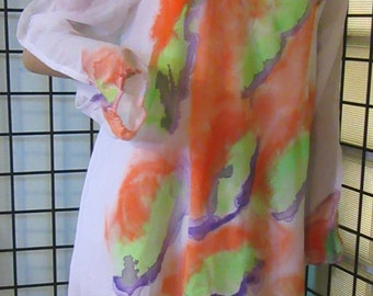 Artsy Women's soft georgeous, Hand painted, Boho cut out sleeve, Top, Beach coverup, Dress   L