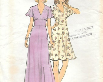 Butterick 3731 UNCUT 1970s Flared Sleeve Dress in Two Lengths Vintage Sewing Pattern Sizes 12 Bust 34