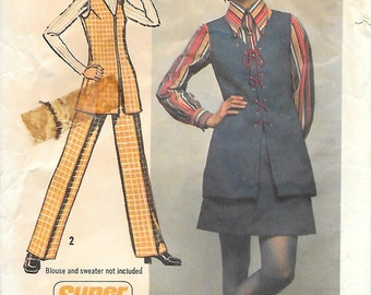 "Simplicity 5075 1970s Mod Long Tunic Pants and Mini-Skirt Vintage Sewing Pattern Size 14 Bust 36 ""Super Jiffy"""