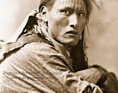 White Belly, Professionally Restored Reprint of Vintage Native American Sioux Man Portrait Photograph by Herman Heyn