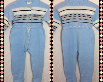 Blue Acrylic Sweater Romper with Button Front and Foot Stirrups by Ioana Pan