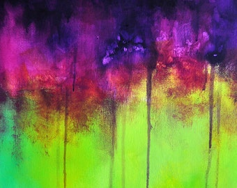 """Original Abstract Painting Lime Green Purple Violet Modern Bold Wall Art 18x14"""""""