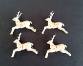 Tiny Vintage Reindeer . 1950's Christmas Decoration . Four White Deer . Winter Decor