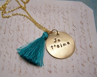 Je T'aime Necklace with Teal Tassel. I Love You. French. Bohemian. Long Necklace
