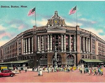 Vintage Boston Postcard - South Station (Unused)