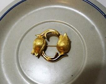 Vintage MONET Goldtone Tulip Brooch