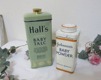 Vintage Decorative Tins Hall's Baby Talc and Johnson Baby Powder