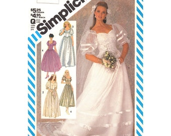Vintage Wedding Dress Pattern Simplicity 6241 Fitted Bodice Dress Full Skirt Puff Sleeves Off Shoulder Bridesmaid Dress Womens Bust 38 UNCUT