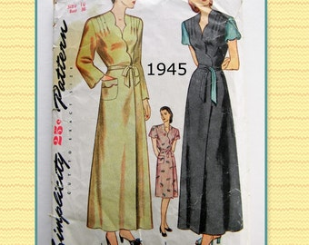 "Vintage 1940's Simplicity 1500 Women's and Misses Housecoat- Bust 36"" 1945"