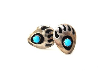 Native American Southwestern Sterling Silver 925 Bear Claw Genuine Turquoise Cabochon Pierced Stud Earrings