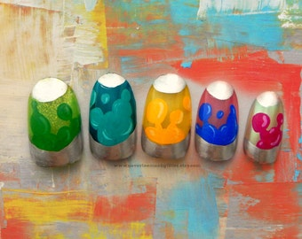 Lava Lamp Fake Nails. The Original! Groovy, Lava Lamp, 70s, Retro Fake Nails, False Nails, Press On Nails, 70s Fashion, 1970s Inspired, Nail