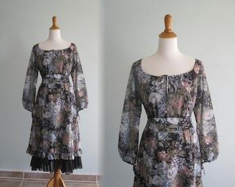 Romantic Black Floral Dress with Flounced Skirt - 70s Floral Dress with Ruffled Skirt - Vintage 1970s Dress L XL