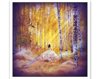 Magic Follows, Woodland Fairytale Fantasy Art Archive Quality Giclée Print, Unframed   Made to Order