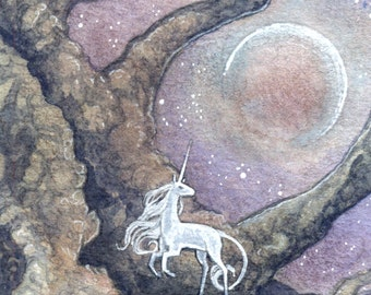 "Limited Edition ACEO Print ""Unicorn Moon"" unicorn nature forest dark fantasy art"