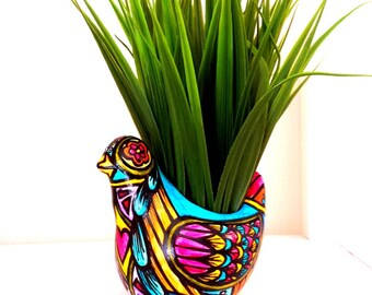Bird Planter Day of the Dead Folk Art Ceramic Vase Decor Hand Painted turquoise orange pink yellow - MADE TO ORDER