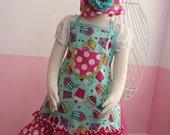 Girls Apron - Kids Ruffle Apron - Pink & Teal Cupcakes