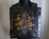 Large Black Floral Tapestry Bag