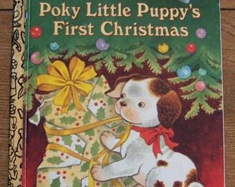 Vintage 1993/95 Little Golden book POKY LITTLE PUPPY'S First Christmas children boy girl