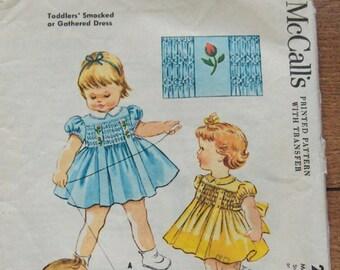 vintage 50s McCalls pattern 2320 toddler smocked or gathered dress  sz 1 smocking uncut unused