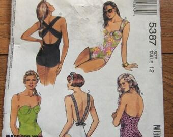 vintage 1991 McCalls pattern 5387  misses swimsuit  sz 12 uncut