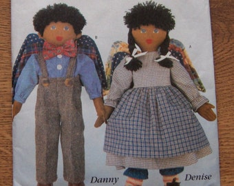 "vintage 1995 butterick pattern 4279 boy and girl angel dolls 15"" uncut children toy"