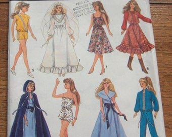"Vintage 80s Simplicity pattern 8333 11 1/2"" Fashion Doll clothes toy children girl"