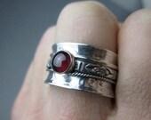 Garnet Spinner Ring Fidget Worry Ring Sterling Silver, size 9.5 (9)