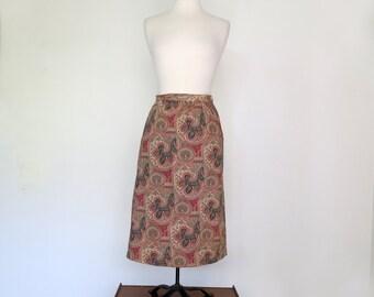 PAISLEY // high waisted bohemian paisley mid length skirt