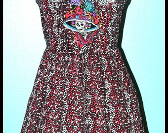 Day of the Dead Flowered Dress....Size M