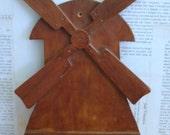 Vintage 1940s Wood Windmill Wall Shelf