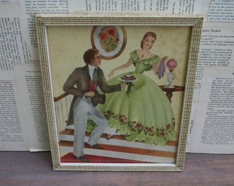 Vintage 1930 Southern Belle and Gentleman Framed Art by Averill