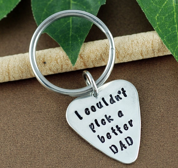 Guitar Pick Keychain | I couldn't Pick a Better Dad Keychain | Father's Day Keychain | Daddy Keychains | Gift for Dad | Father of the Bride